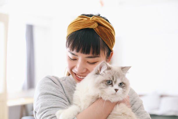 Femme qui tient un chat blanc dans ses bras